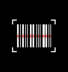 barcode scanning icon on black background vector image