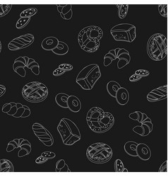 black and white bakery pattern vector image vector image