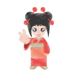 drawing woman asian clothes vector image