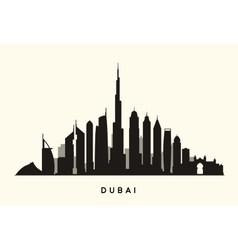 Dubai skyline silhouette vector image vector image