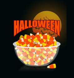 halloween bowl and candy cornmoon and bat sweets vector image vector image