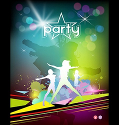 Silhouette woman colorful party design vector image