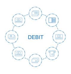 8 debit icons vector