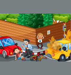 Accident scene with car on road vector