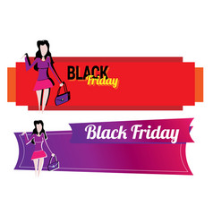 banner with a girl going shopping vector image
