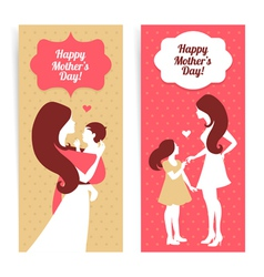 Banners beautiful silhouette mother and baby vector