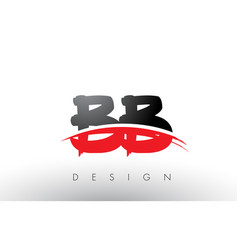 Bb b b brush logo letters with red and black vector