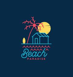 Beach paradise logo design vector
