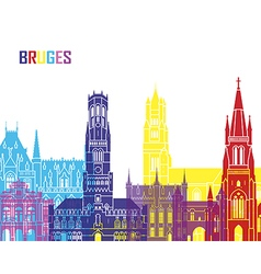 Bruges skyline pop vector