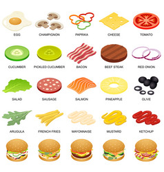 Burger ingredient icons set isometric style vector
