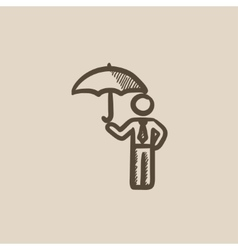 Businessman with umbrella sketch icon vector image