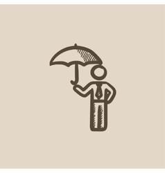 Businessman with umbrella sketch icon vector