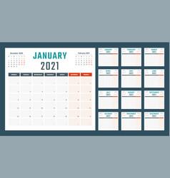 Calendar for 2021 starts monday vector