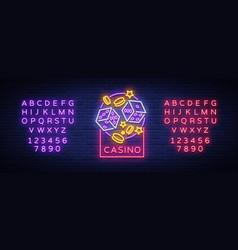 casino is a neon sign neon logo emblem gambling vector image