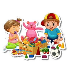 Children with their toys isolated on white vector