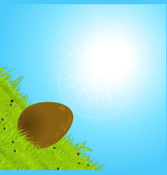 Chocolate easter egg rolling down the hill vector