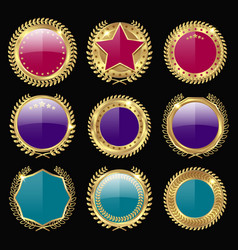 Colorful medal awards icon set vector