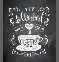 Cup of coffee with lettering on the chalk vector
