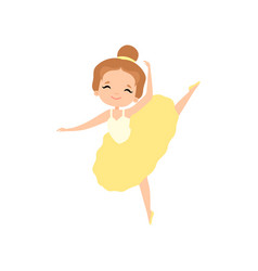 Cute little ballerina dancing lovely girl ballet vector