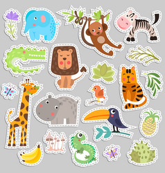 cute set stickers safari animals and flowers vector image