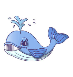 cute whale icon cartoon style vector image