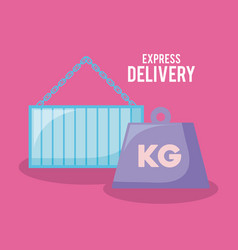 Delivery service container with kilograms vector