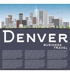 Denver Skyline with Gray Buildings Blue Sky vector image