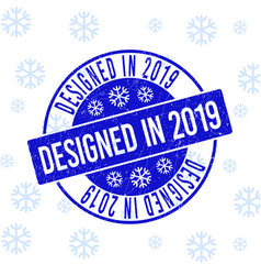 Designed in 2019 scratched round stamp seal for vector