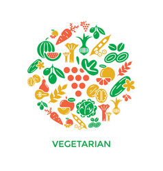 Digital green red yellow vegetable icons vector
