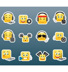 dj smile stickers set vector image