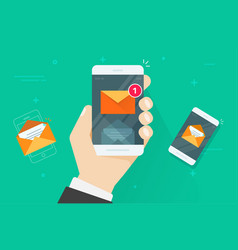 Email mobile phone notifications vector