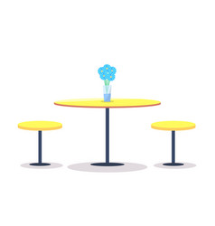 Empty round table with flowers on top two chairs vector