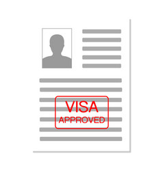 Eurozone europe visa approved stamp on document vector