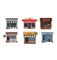 facades of various shops set flower ice cream vector image