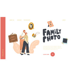 family characters visiting salon for making photo vector image