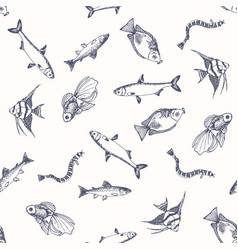 fish pattern sketch of salmon hand drawn vector image