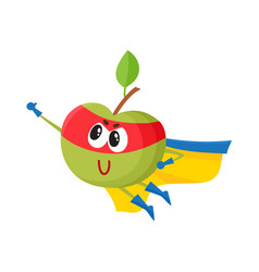 Flat apple character in cape mask flying vector