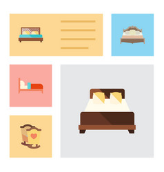 Flat set of hostel crib bedroom and other vector