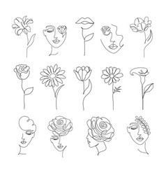 Flowers and women in one line drawing style vector