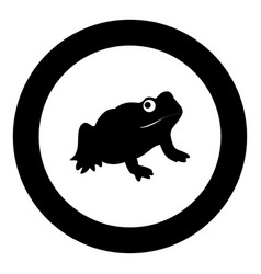 frog black icon in circle vector image