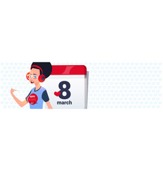 Girl over calender page with 8 march date vector