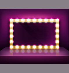 gold signboard or makeup mirror frame with light vector image
