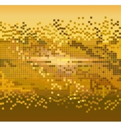 golden pixels background vector image