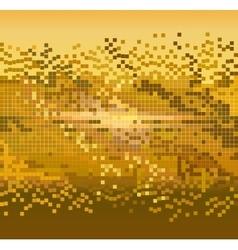 Golden pixels background vector