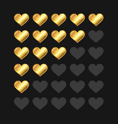golden rating hearts panel set vector image