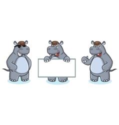 Gray Hippo Mascot happy vector