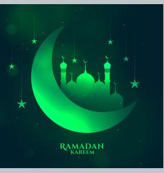 Greem ramadan kareem shiny background with moon vector