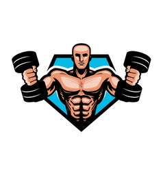 gym bodybuilding sport logo or label muscular vector image