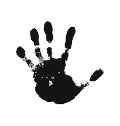 hand print isolated on white background black vector image