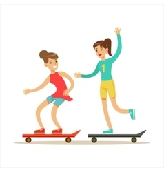Happy Best Friends Riding Skateboards Together vector